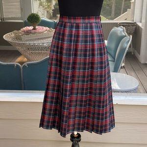 Vintage 90s Highwaist Pleated Plaid Wool Skirt